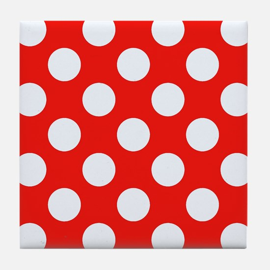 Retro Red Polkadots Tile Coaster