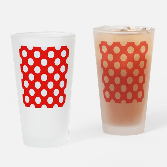 Retro Red Polkadots Drinking Glass