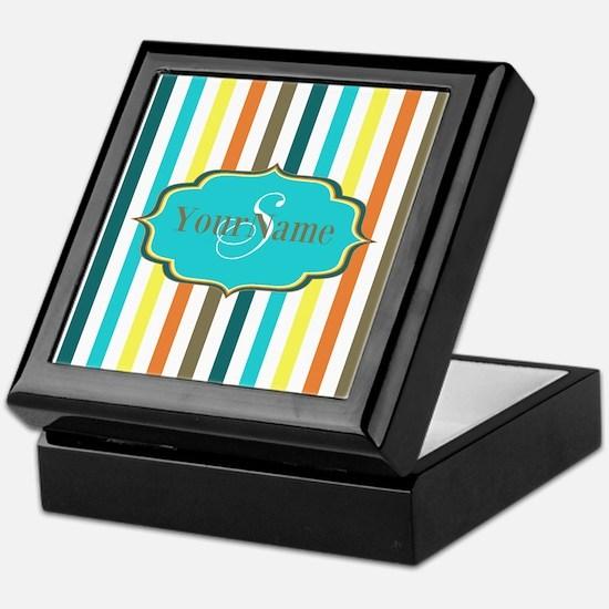 Monogrammed Retro Colorful Stripes Keepsake Box