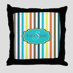 Monogrammed Retro Colorful Stripes Throw Pillow