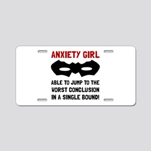 Anxiety Girl Aluminum License Plate