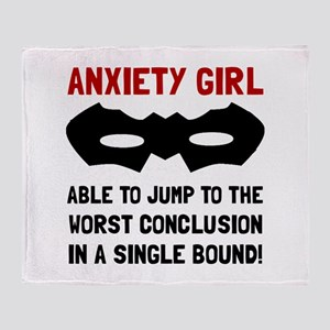 Anxiety Girl Throw Blanket