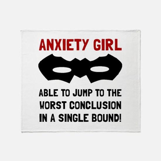 Anxiety Girl Throw Blanket