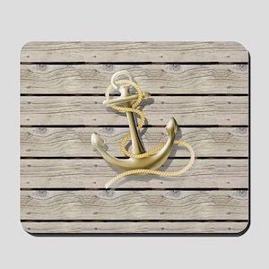 beach wood grain nautical anchor Mousepad