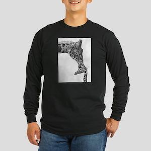 Giraffe and Calf Long Sleeve Dark T-Shirt