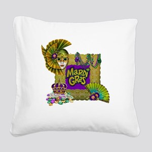 Mardi Gras Square Canvas Pillow