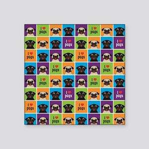 "I Love Pugs Sm Color Square Square Sticker 3"" x 3"""