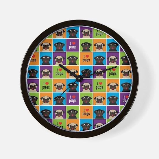 I Love Pugs Sm Color Squares Wall Clock