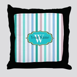 Monogrammed Multicolored Stripes Throw Pillow