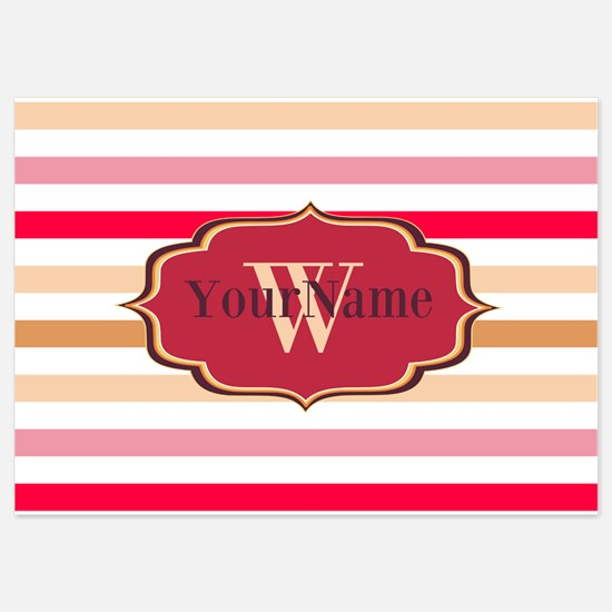 Monogram Multicolored Stripes 5x7 Flat Cards