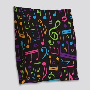 Music notes Band Choir Burlap Throw Pillow