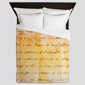 gold leaves and script Queen Duvet