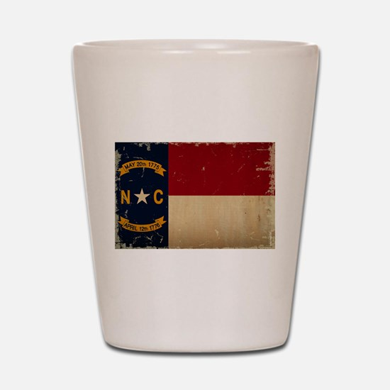 North Carolina State Flag VINTAGE Shot Glass