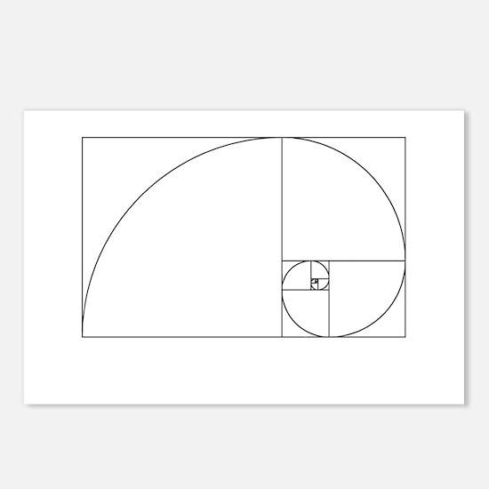 Fibonacci spiral Postcards (Package of 8)
