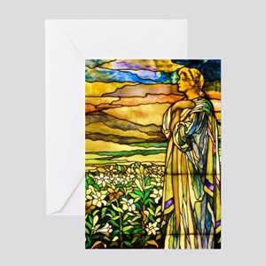 Field of Lilies by Tiffany Studios Greeting Cards