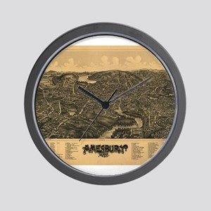 Antique map of Amesbury MA 18 Wall Clock