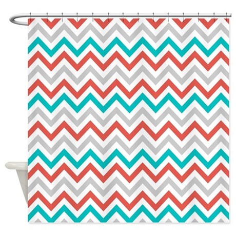 Gray Coral Teal Chevron Shower Curtain By CupcakesandSprinklesBirthdayTees