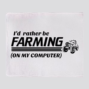 rather be farming online Throw Blanket