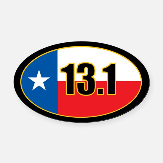 Texas Half Marathon Oval Car Magnet