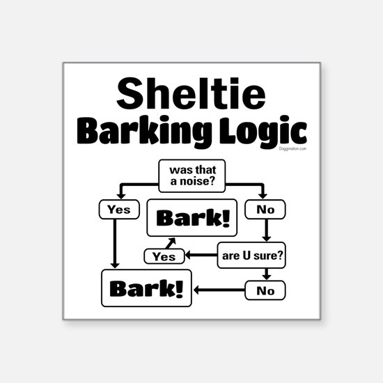 "Sheltie Logic Square Sticker 3"" x 3"""