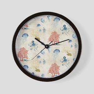 Indigo Ocean Coral Octopus Shells Jelly Wall Clock