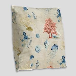 Indigo Ocean Coral Octopus She Burlap Throw Pillow