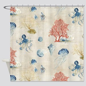 Indigo Ocean Coral Octopus Shells J Shower Curtain