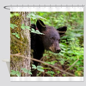 Black Bear behind Tree Shower Curtain