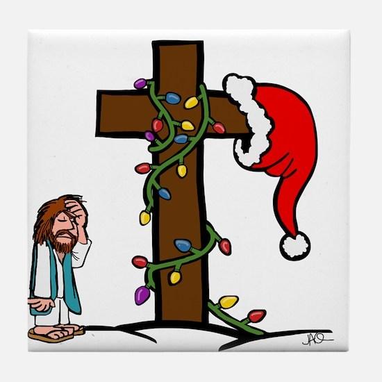 Cute Santa cross Tile Coaster