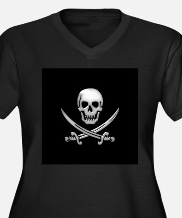 Glassy Skull and Cross Swords Plus Size T-Shirt