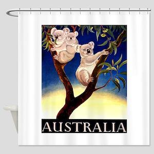 1956 Australia Koalas Vintage Travel Poster Shower