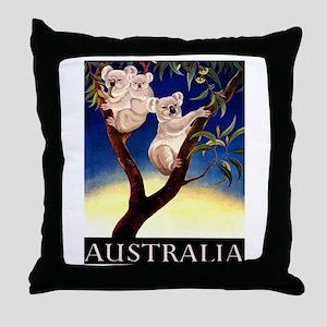 1956 Australia Koalas Vintage Travel Poster Throw