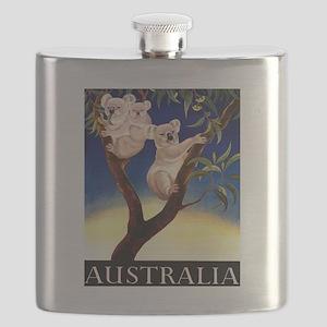 1956 Australia Koalas Vintage Travel Poster Flask