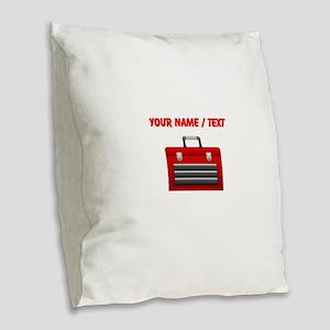 Custom Red Toolbox Burlap Throw Pillow