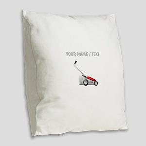 Custom Lawn Mower Burlap Throw Pillow