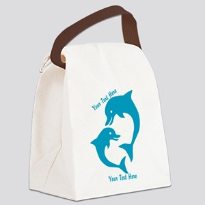 CUSTOM TEXT Cute Dolphins Canvas Lunch Bag