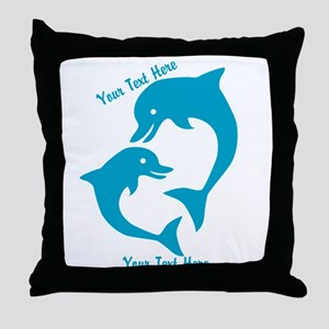 CUSTOM TEXT Cute Dolphins Throw Pillow