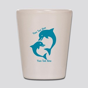 CUSTOM TEXT Cute Dolphins Shot Glass