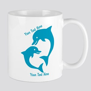 CUSTOM TEXT Cute Dolphins Mugs