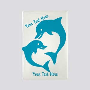 CUSTOM TEXT Cute Dolphins Magnets
