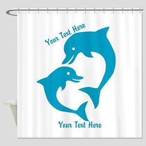 CUSTOM TEXT Cute Dolphins Shower Curtain