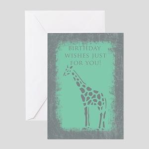Giraffe Grunge Birthday Card Greeting Cards