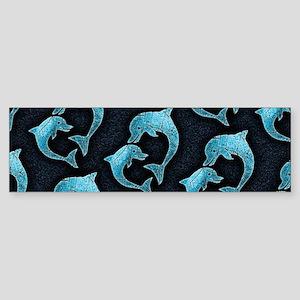 Dolphins Worn Pattern Bumper Sticker