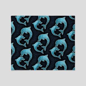 Dolphins Worn Pattern Throw Blanket