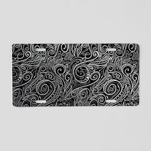Black Silver Damasks Aluminum License Plate