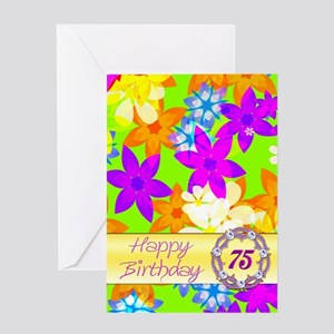 75th birthday, with fabulous flowers Greeting Card