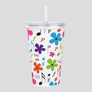 Music Flowered Design Acrylic Double-wall Tumbler