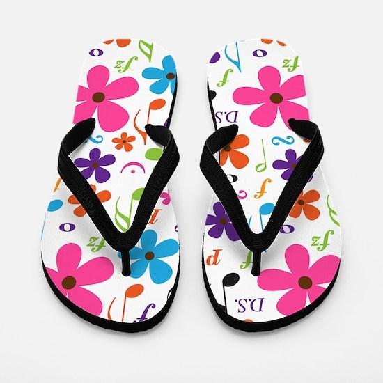 Music Flowered Design Flip Flops