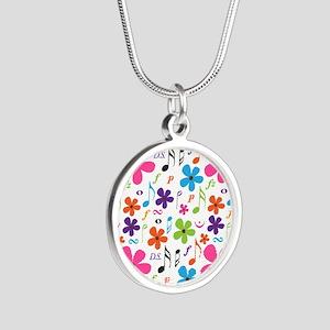 Music Flowered Design Silver Round Necklace