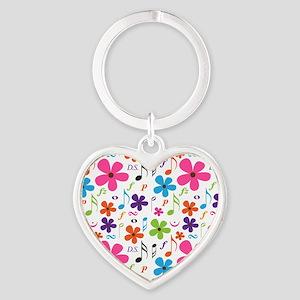 Music Flowered Design Heart Keychain
